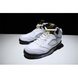 Men's/Women's New Release Air Jordan 5 Gold Tongue White Black-Metallic Gold