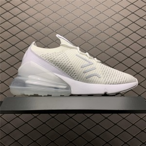 Men's/Women's Nike Air Max 270 Flyknit Triple White Outlet