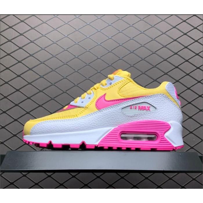 Women's Nike Air Max 90 Topaz Gold White-Laser Fuchsia
