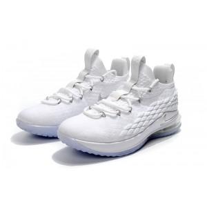 Men's Nike LeBron 15 Low White Metallic Silver-Atmosphere Grey
